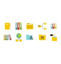 folder icon set flat style vector image