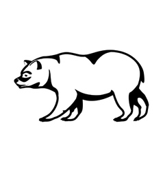 Monochrome silhouette with bear walking vector