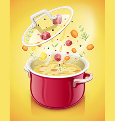 red saucepan with lid kitchen vector image vector image