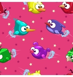 Seamless pattern with funny cartoon birds vector