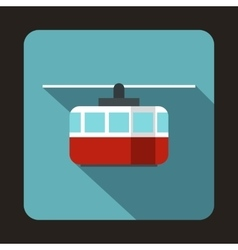 Ski lift icon in flat style vector image