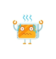 Stressed Little Robot Character vector image