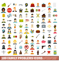 100 family problems icons set flat style vector image vector image