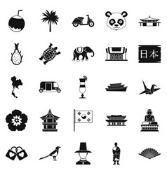 countries in asia icons set simple style vector image vector image