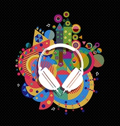 Dj Headphone icon concept music color shape vector image