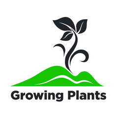 growing plants promotional emblem with green vector image vector image