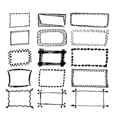 Hand drawn rectangle frames set vector image