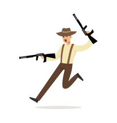 mafia man character in brown fedora hat running vector image vector image
