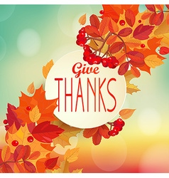 Give thanks - autumn background vector image