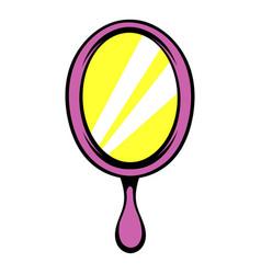 pink hand mirror icon icon cartoon vector image vector image