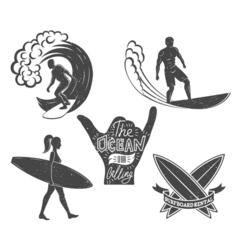 Set of surfing vintage design elements Surf logo vector image vector image