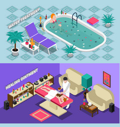 spa salon isometric banners vector image vector image