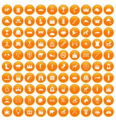 100 horsemanship icons set orange vector