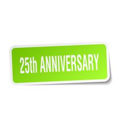 25th anniversary square sticker on white vector