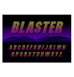 80s retro futurism style font brush stroke vector