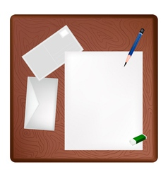 A Pencil Lying on A Blank Page and Envelope vector image