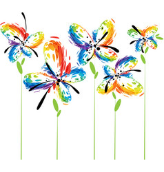 abstract flowers on white vector image