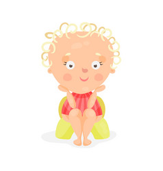 Adorable cartoon baby girl sitting on a yellow vector