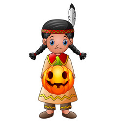 american indian girl holding pumpkin vector image