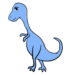 angry blue dinosaur on white background vector image