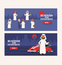 arab businessman wearing traditional clothing and vector image