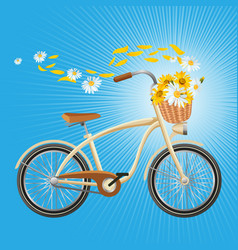 bicycle with cart full of flowers petals flying vector image