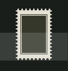 black blank postage stamp toothed border sticker vector image