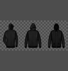 Black sweatshirt with zipper front and back view vector