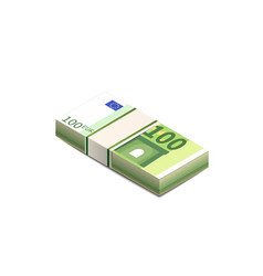 Bright one hundred euro banknotes in stack in vector