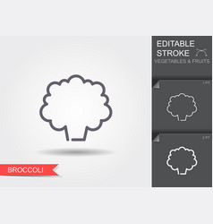 broccoli line icon with editable stroke with vector image