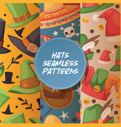 cartoon hat seamless pattern comic cap for vector image