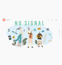 Characters search signal wifi router landing vector