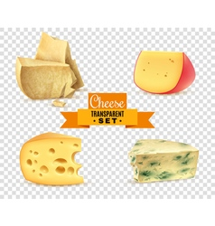 Cheese 4 Realistic Images Transparent Set vector