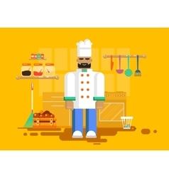 Chef in uniform kitchen utensils furniture vector