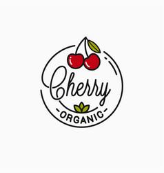 cherry logo round linear logo organic cherry vector image