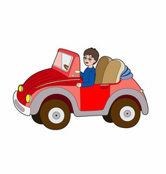 Child in a red car vector