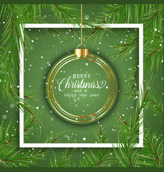 christmas background with hanging bauble vector image