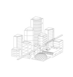city landscape drawing modern architecture vector image