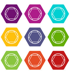 Closed objective icon set color hexahedron vector
