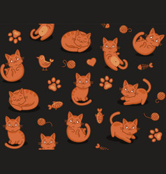 cute cartoon cat seamless pattern on dark vector image
