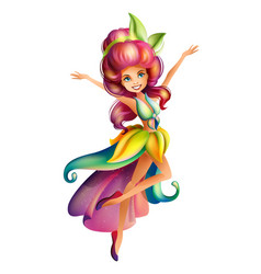 Cute colorful fairy character vector