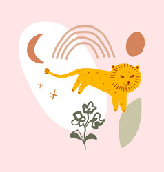 cute nursery lion childish african animal pre vector image