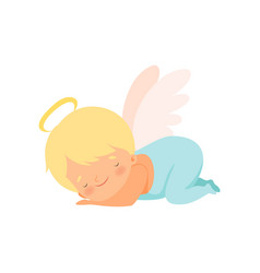Cute sleeping boy angel with nimbus and wings vector