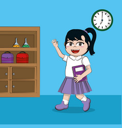 cute student girl in classroom vector image
