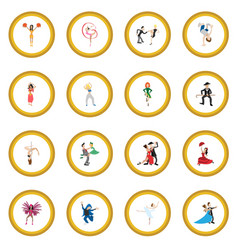 dances cartoon icon circle vector image