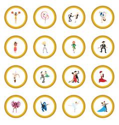 Dances cartoon icon circle vector