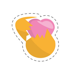 Easter egg with pink heart - cut line vector