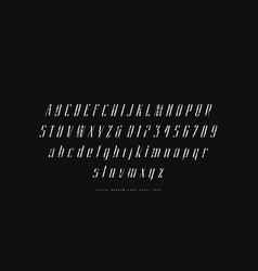 elegant italic narrow sans serif font vector image