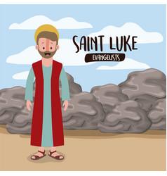 Evangelist saint luke in scene in desert next vector