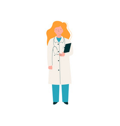 female doctor character with stethoscope and vector image
